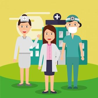 Vrouwelijke arts verpleegkundige en chirurg personeel medisch team ziekenhuis