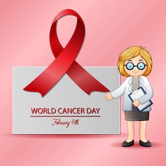 Vrouwelijke arts wijzend op medical.4 februari wereld kanker dag poster
