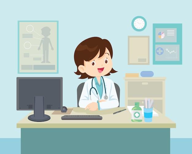 Vrouwelijke arts zitten aan de tafel