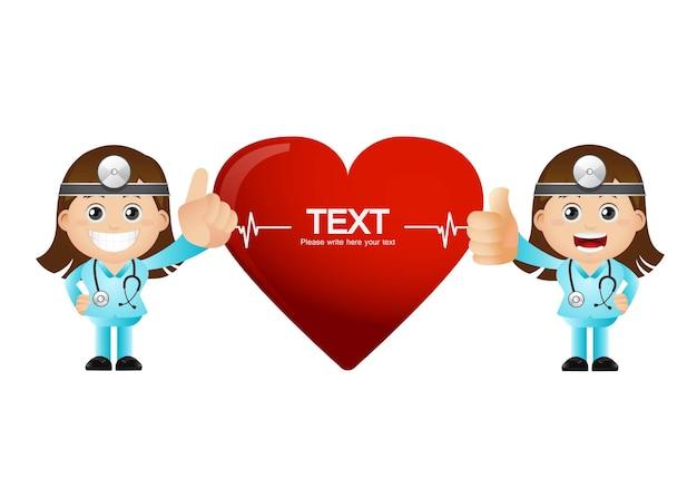 Vrouwelijke artsen met een groot hartsjabloon