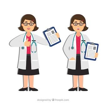 Vrouwelijke artsen met klemborden