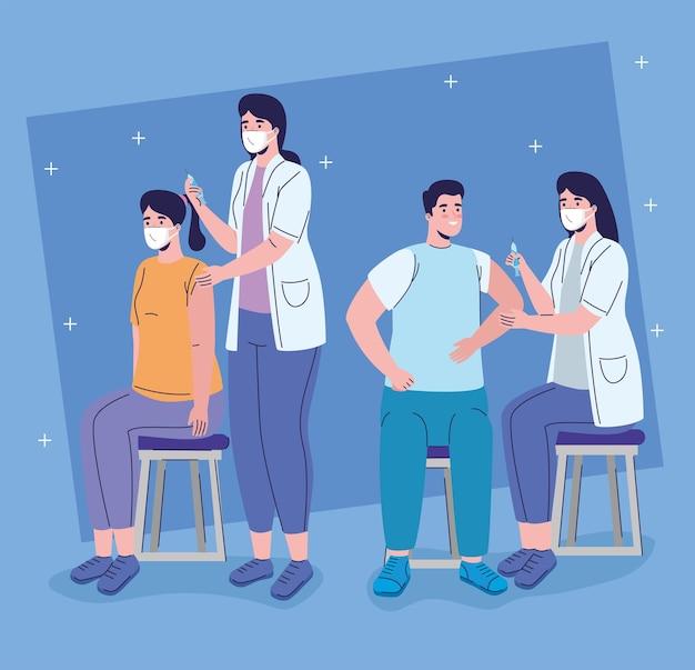 Vrouwelijke artsen met vaccinatieillustratie