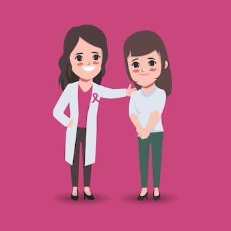 Vrouwelijke assisterende arts helpt patiënt borstkanker controleren maand voor bewustzijn van borstkanker