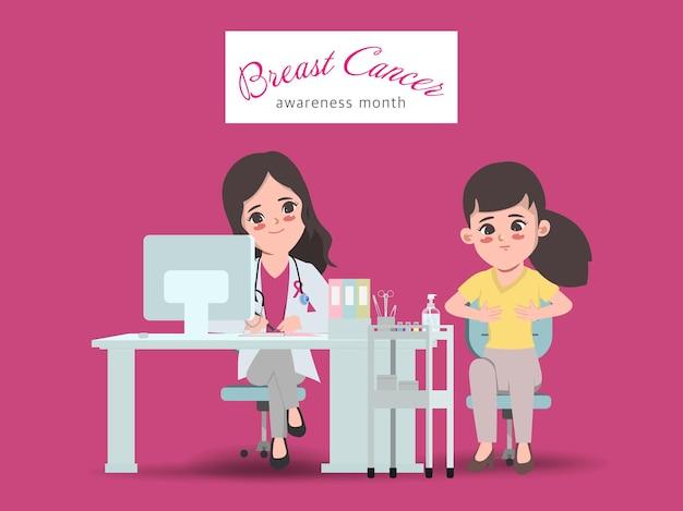 Vrouwelijke assisterende arts helpt patiënt mammogram röntgenfoto te ondergaan maand voor bewustmaking van borstkanker