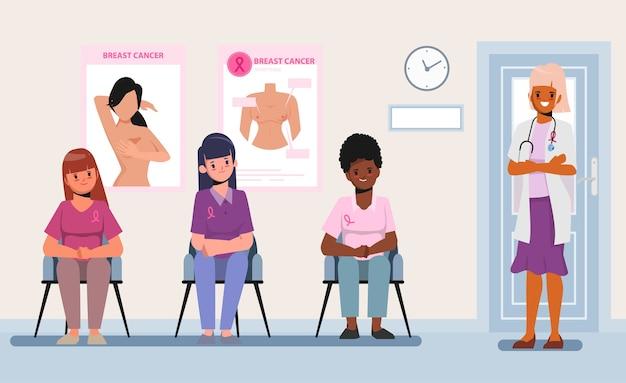 Vrouwelijke assisterende arts krijgt borstkanker gecontroleerd. voorlichtingsmaand van borstkanker.