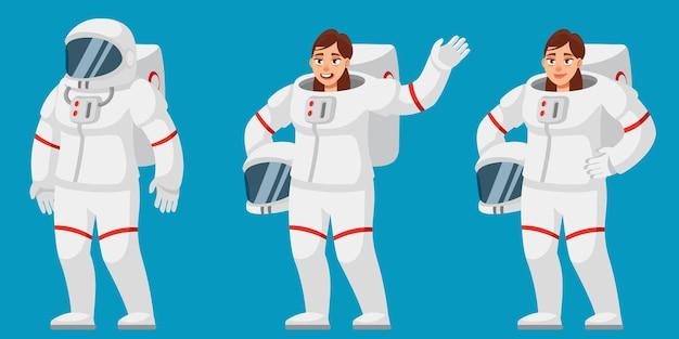 Vrouwelijke astronaut in verschillende poses. vrouw in cartoon-stijl.