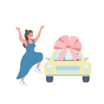 Vrouwelijke auto winnaar egale kleur gedetailleerd karakter