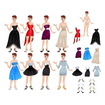 Vrouwelijke avatar met geïsoleerde jurken en schoenen vector illustratie voorwerpen 8 verschillende jurken en schoenen 8