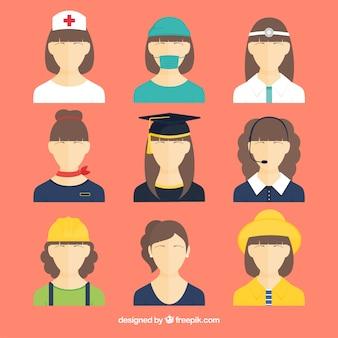 Vrouwelijke avatars met verschillende banen