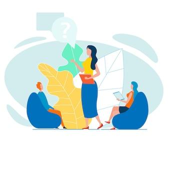 Vrouwelijke baas verslag uitbrengen of stagiairs instrueren