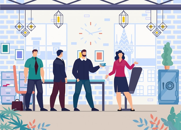 Vrouwelijke baas werken in office flat