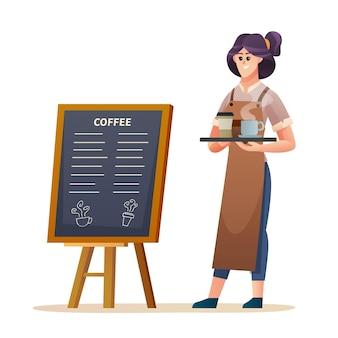 Vrouwelijke barista die in de buurt van het menubord staat terwijl ze een koffieillustratie draagt