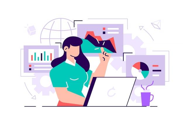 Vrouwelijke beambten bestuderen de infographic, de analyse van de evolutieschaal. vlakke stijl illustratie van het bedrijfsleven voor webpagina's, sociale media, documenten, posters. vrouw op laptop