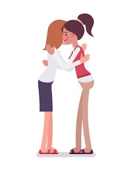 Vrouwelijke bedienden die een knuffel geven