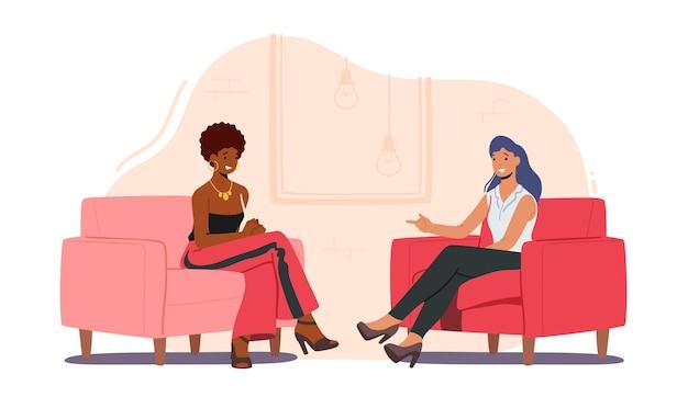 Vrouwelijke beroemdheid die interview geeft aan televisiepresentator