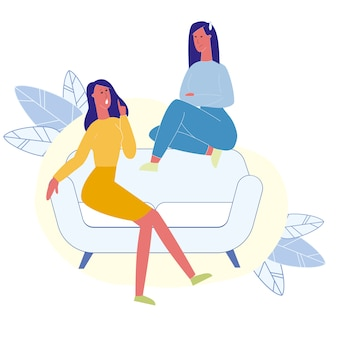 Vrouwelijke beste vrienden praten vlakke afbeelding