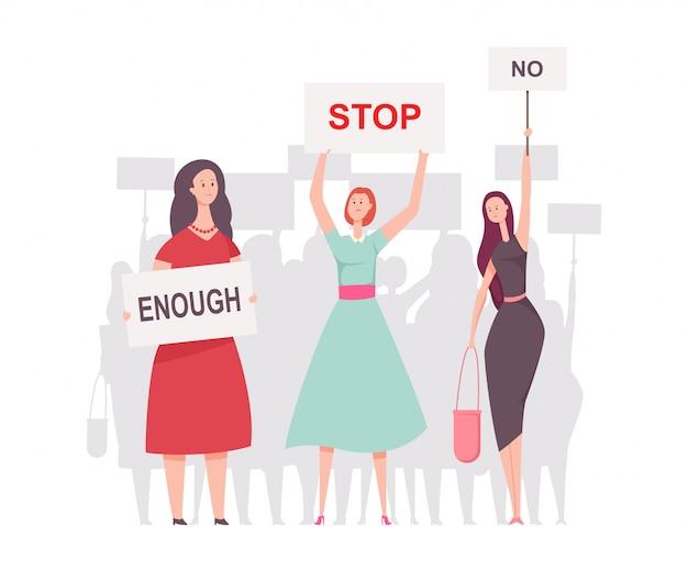 Vrouwelijke betogers met plakkaten. vectorbeeldverhaal vlakke die illustratie op witte achtergrond wordt geïsoleerd.