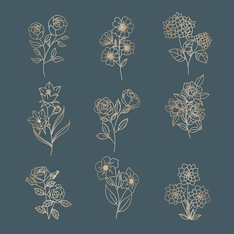 Vrouwelijke bloem bloemen voor logo bewerkbare sjabloon