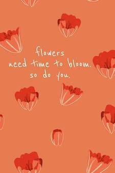 Vrouwelijke bloemen banner sjabloon vector tulp illustratie met inspirerende quote
