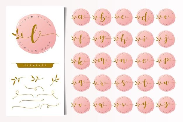 Vrouwelijke bloemen brieven logo ontwerpsjabloon