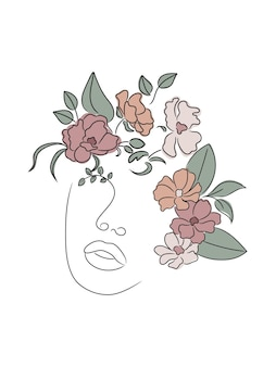 Vrouwelijke bloemen lijntekening