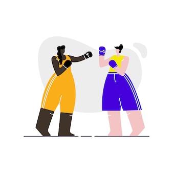 Vrouwelijke boksers sparring platte vectorillustratie