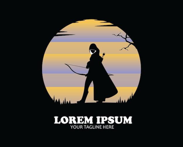 Vrouwelijke boogschutter logo silhouet vector ontwerp