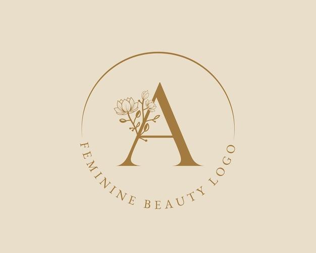 Vrouwelijke botanische a brief eerste laurel krans logo sjabloon voor spa schoonheidssalon bruiloft