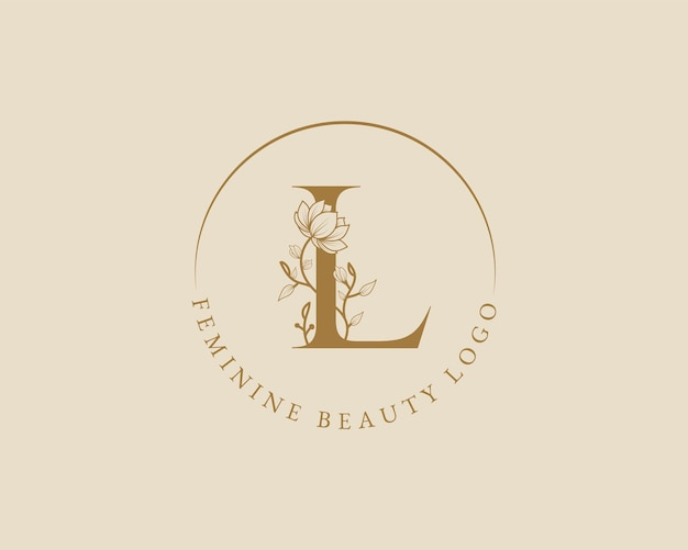 Vrouwelijke botanische l brief eerste lauwerkrans logo sjabloon voor spa schoonheidssalon bruiloft kaart
