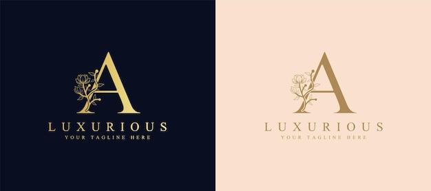 Vrouwelijke botanische letter eerste lauwerkrans logo sjabloon voor spa schoonheidssalon bruiloft kaart