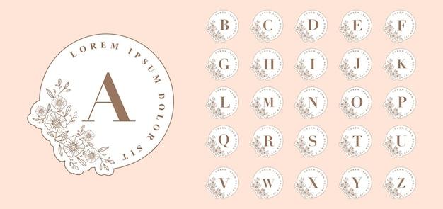 Vrouwelijke botanische ronde a tot z brieven logo's sjabloon voor spa schoonheidssalon boutique trouwkaart