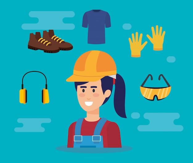 Vrouwelijke bouwer met apparatuur