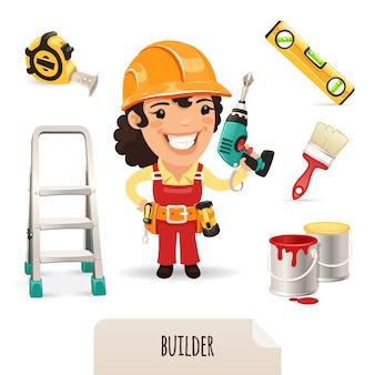 Vrouwelijke bouwers icons set