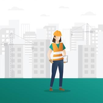 Vrouwelijke bouwvakker bedrijf klembord