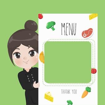Vrouwelijke chef beveelt voedselmenu aan,