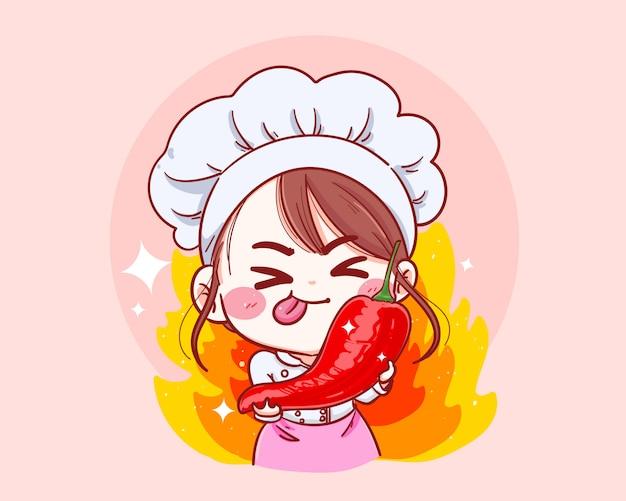 Vrouwelijke chef-kok holding chili cartoon hand getrokken illustratie