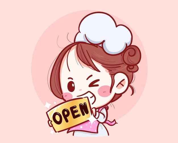 Vrouwelijke chef-kok houdt een open teken aan de voorkant van de winkel hand getrokken illustratie