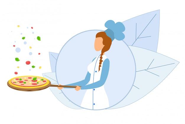 Vrouwelijke chef-kok met koekenpan met hete pizza-logo