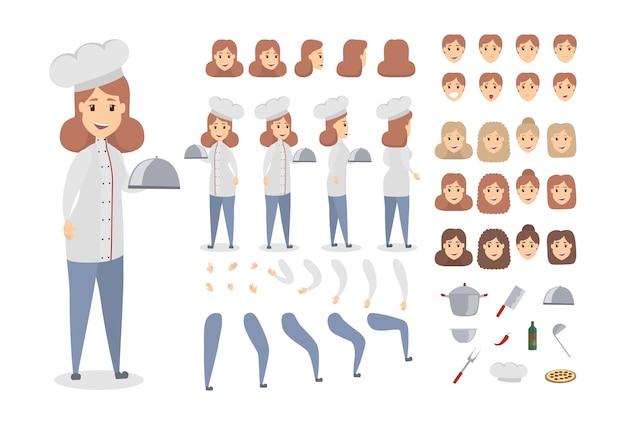Vrouwelijke chef-kok tekenset. houdingen en emoties.