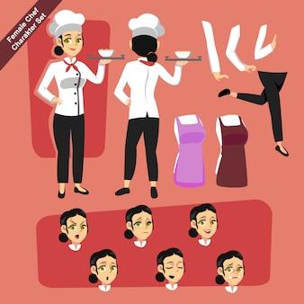 Vrouwelijke chef-kok tekenset