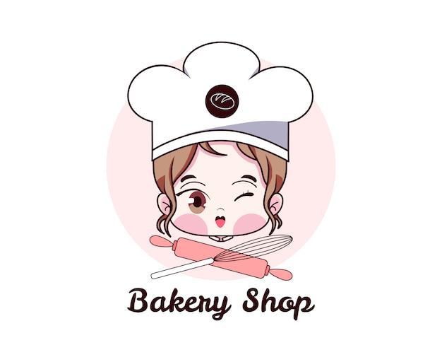 Vrouwelijke chef. leuk meisje glimlachend kawaii bakkerij winkel logo cartoon