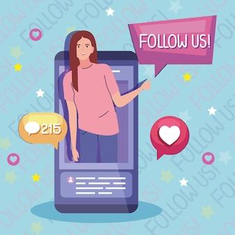 Vrouwelijke contentmaker in smartphone