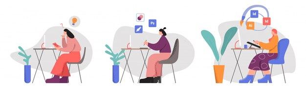 Vrouwelijke creatieve ontwerper werknemer op werkplek grote ledematen stijl vlakke afbeelding instellen