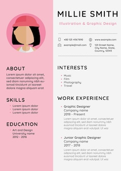 Vrouwelijke cv bewerkbare sjabloon cv voor instapniveau en professionals
