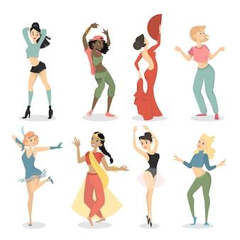 Vrouwelijke dansers ingesteld. swing en tango, hiphop en mode, indiaan en ballet.