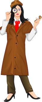Vrouwelijke detective met een vergrootglas