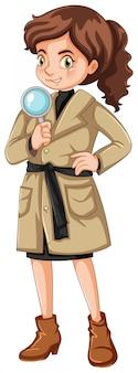 Vrouwelijke detective met vergrootglas