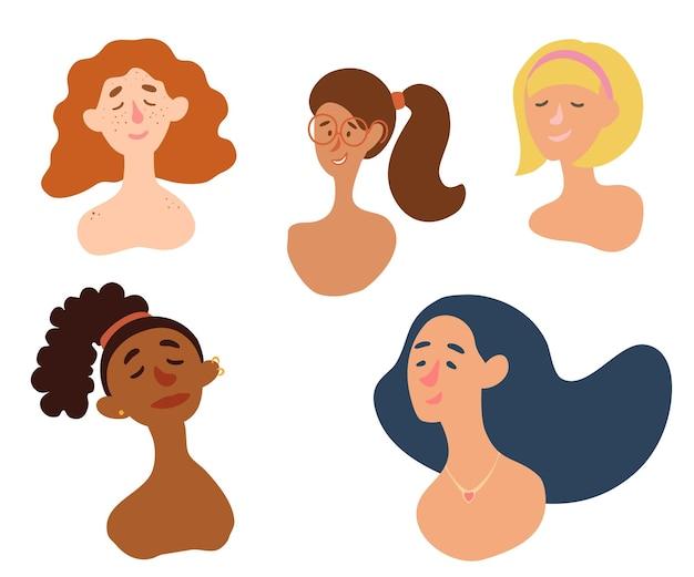 Vrouwelijke diverse gezichten sproeten piercing rood haar bril blond internationaal