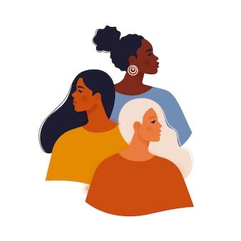 Vrouwelijke diverse gezichten van verschillende etniciteit
