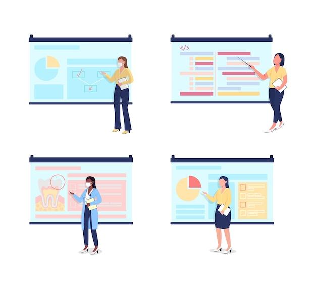 Vrouwelijke docenten met projector schermen egale kleur vector gezichtsloze tekenset. multiculturele vrouwen. professionele seminar geïsoleerde cartoonillustratie voor web grafisch ontwerp en animatiecollectie